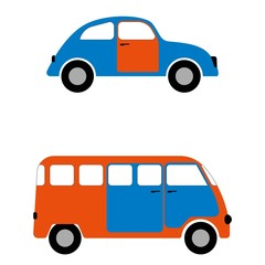 Set of figures car and minibus for infographics