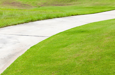 Nice green and road path in golf course