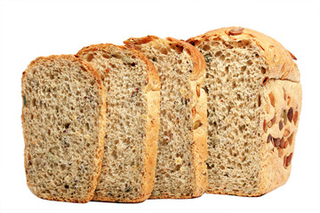 wheat grain bread isolated on white background