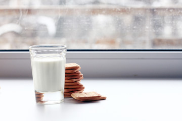glass of milk and crackers