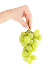 Green grape in hand isolated on white