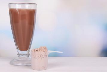 Whey protein powder and chocolate protein shake