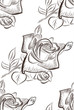 seamless background with a hand drawn rose