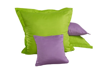 pile of green and violet pillows isolated on white background