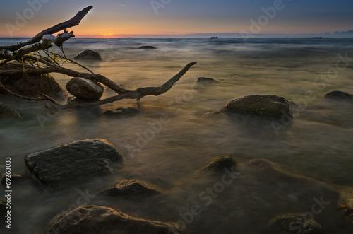 canvas print picture Sonnenuntergang an der Ostsee