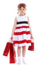 girl in a striped dress