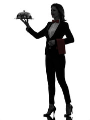 woman waiter butler serving dinner silhouette