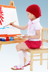 Girl in a red beret sits at his easel and paints the sun.