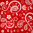 Seamless floral ornament with turkish cucumbers, white on red