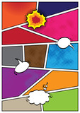 Comics popart style blank layout template background poster