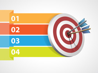 Target with arrows with graphic informations - Vector illustrati