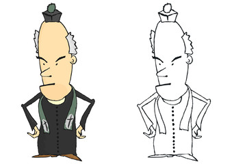Coloring page of a comic Catholic priest. Vector