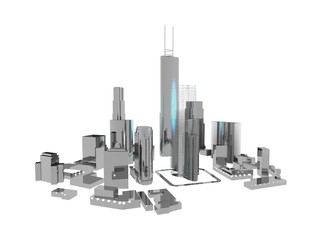 3D City In Metallic Colors