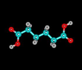 Adipic acid molecule isolated on black