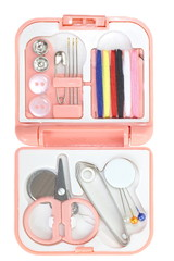 Sewing accessories in the pattern pink box