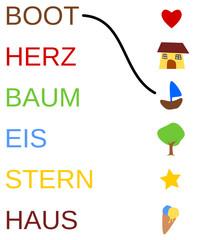 Arbeitsblatt: Zuordnung Wort - Symbol