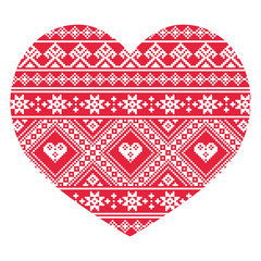 Traditional Ukrainian red folk art heart pattern
