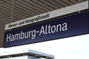 sign at the station. Germany Hamburg