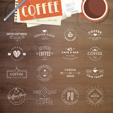 Set of vintage style elements for labels and badges for coffee - 69265059