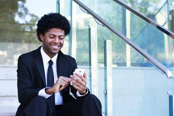 business man write message text