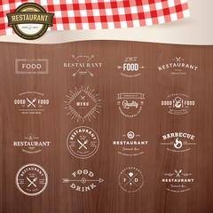 Set of vintage  elements for labels and badges for restaurants