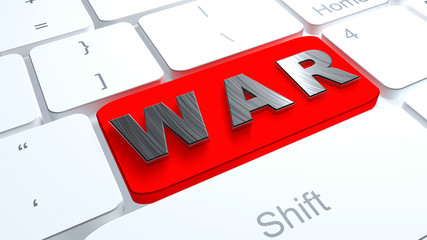Button WAR on white keyboard
