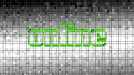e-learning online Schrift grün rotierend