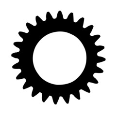 Cogwheel silhouette isolated on a white background