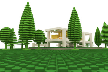 modern house made with plastic bricks