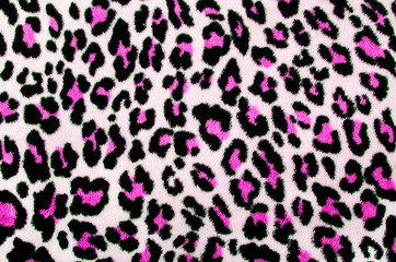 Pink black leopard pattern.Spotted fur animal print background.