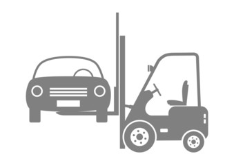 Forklift truck with car on white background