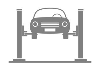 Grey car service on white background