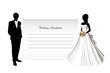Wedding invitation. The bride and groom