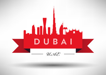 City of Dubai Typographic Skyline Design