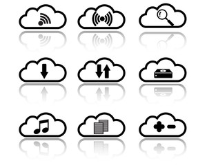 Cloud with Sign and Symbol Icon