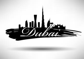 City of Dubai Typographic Skyline Design