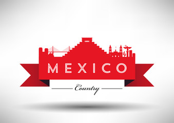 Mexico Typographic Skyline Design
