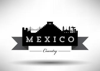 Mexico Typographic Skyline Design