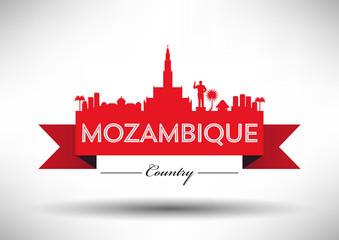 Mozambique Typographic Skyline Design