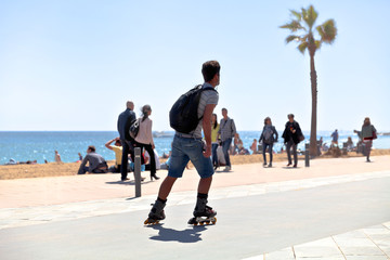 Rollerblading on the beach.