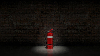 Extinguisher fixed on brick wall