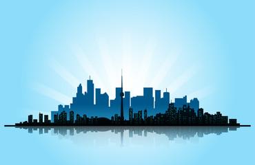 città, skyline, metropoli
