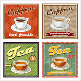 Fototapety Vintage coffee and tea poster. vector illustration