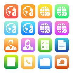 Colorful icons mobile phone and network vector set.