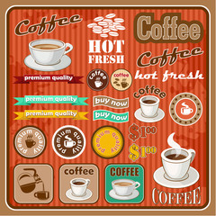 Vintage coffee and tea set icon. vector illustration