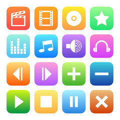 Colorful style media player icons vector set.