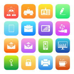 Colorful style Business and office icons vector set.