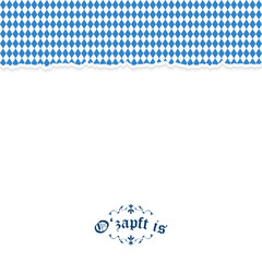Ripped paper Oktoberfest background with text O'zapft is