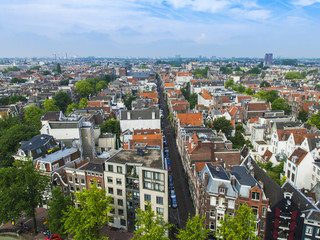 Amsterdam, Netherlands. A view of the city from the Westerkerk