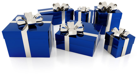gift parcels with silver ribbon